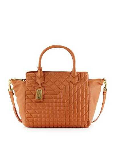 Coralie East-West Quilted-Leather Satchel Bag, Cognac
