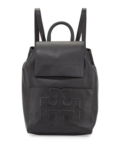Bombé-T Flap Leather Backpack, Black