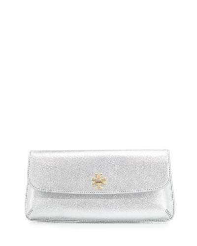 Diana Flap Clutch Bag, Silver
