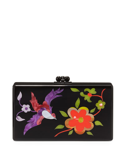 Jean Garden Embroidered Clutch Bag, Black Multi