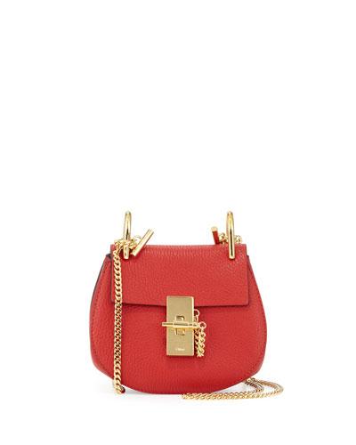 Drew Nano Leather Saddle Bag, Plaid Red