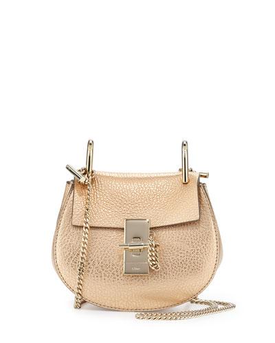 Drew Nano Leather Saddle Bag, Gold