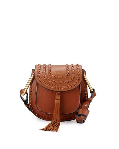 Hudson Stud Leather Mini Saddle Bag, Caramel