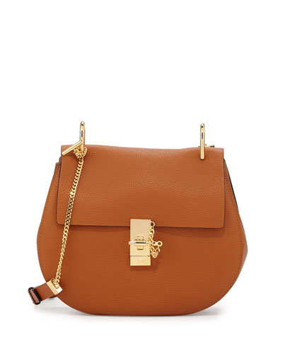 Drew Medium Grain Leather Saddle Bag, Caramel/Gold