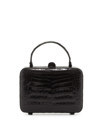 Crocodile Top-Handle Box Bag, Black Shiny