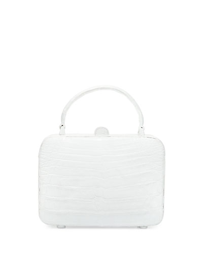 Crocodile Top-Handle Box Bag, White Shiny