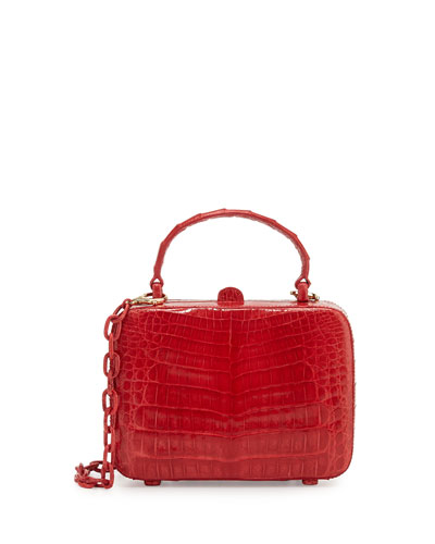 Crocodile Top-Handle Box Bag, Red Shiny
