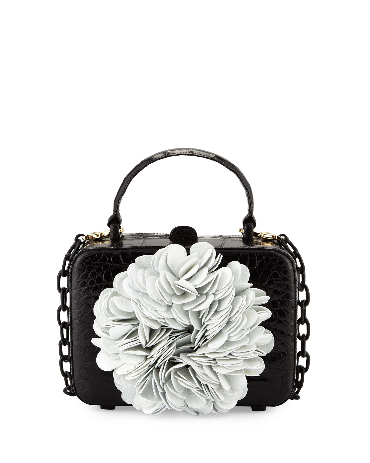 Floral Top-Handle Structured Box Bag, Black/White