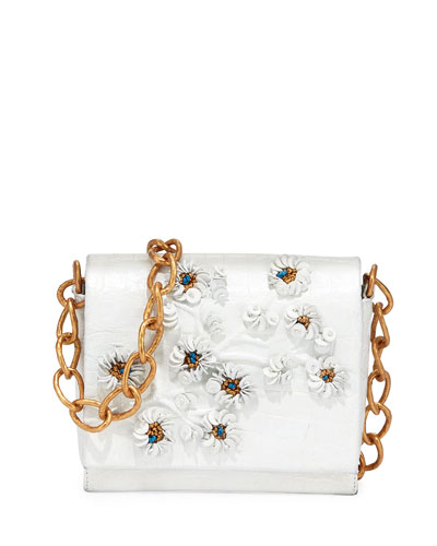 Crocodile Floral Crossbody Bag, White/Gold