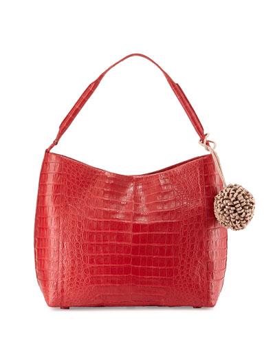 Crocodile Hobo Bag W/Hanging Charm, Red/Nude