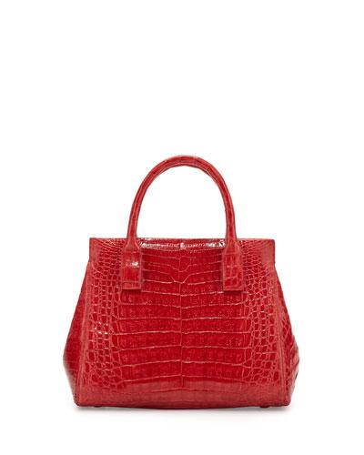 Daisy Small Crocodile Satchel Bag, Red Shiny