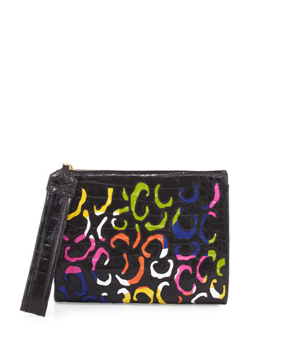 Crocodile Animal-Pattern Wristlet Clutch Bag, Black/Multi