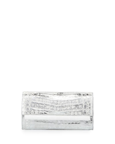 Crocodile Front-Flap Bar Clutch Bag, Silver Wash White