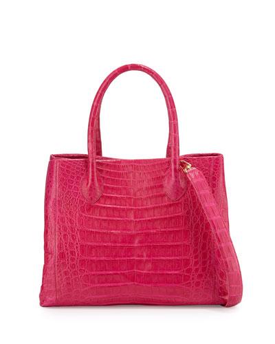 Crocodile Medium Convertible Tote Bag, Pink/Multi