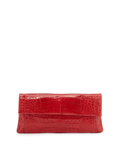 Gotham Crocodile Flap Clutch Bag, Red Shiny