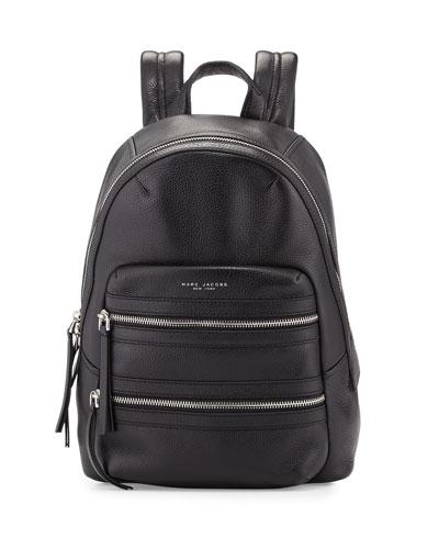 Leather Biker Backpack, Black