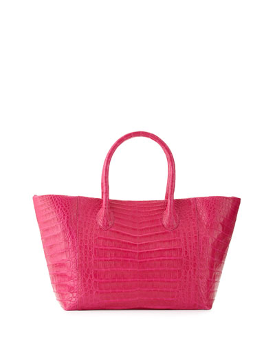 Crocodile Small Convertible Tote Bag, Pink Matte