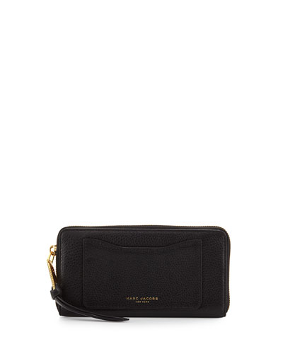 Recruit Leather Continental Zip Wallet, Black