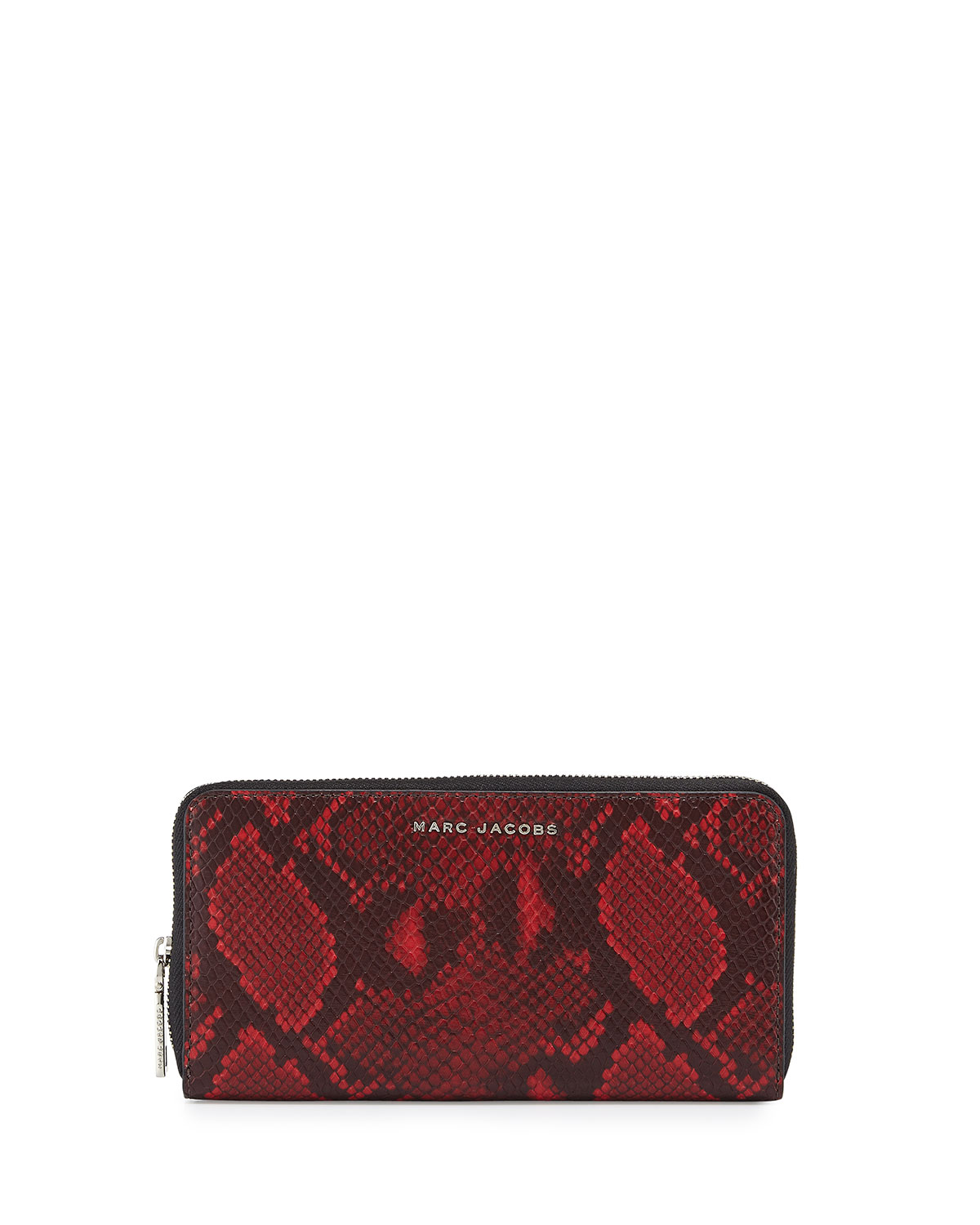 Block Letter Snake-Print Continental Wallet, Red