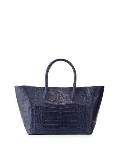 Crocodile Small Convertible Tote Bag, Royal Navy Matte