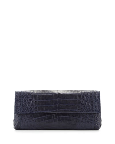 Gotham Crocodile Flap Clutch Bag, Navy Matte