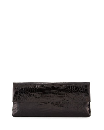 Gotham Crocodile Flap Clutch Bag, Black Shiny