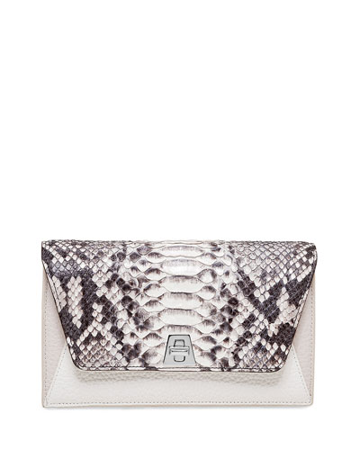 Anouk Python & Leather Chain Envelope Clutch Bag