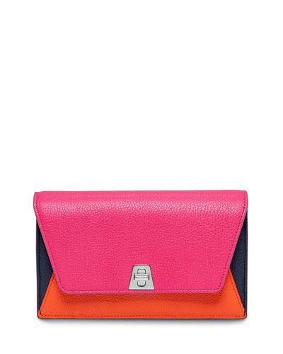 Anouk Leather Chain Envelope Clutch Bag, Rose Multi