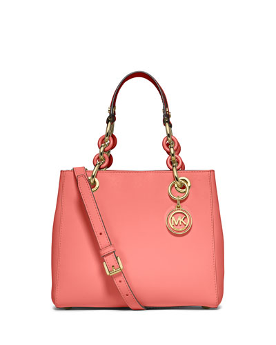 Cynthia Small North-South Satchel Bag, Pink Grapefruit