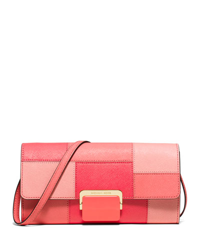 Cynthia Large Tile Patchwork Clutch Bag, Pink Grapefruit