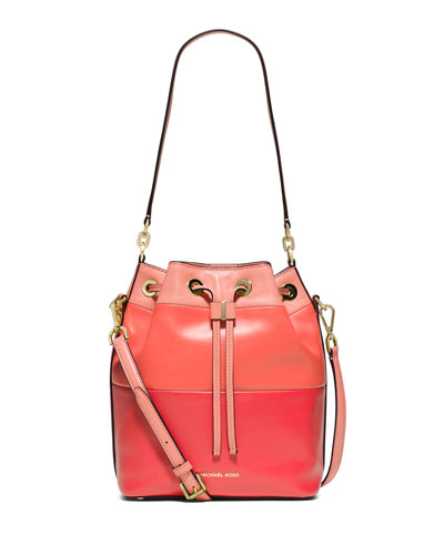 Dottie Degrade Leather Large Bucket Bag, Peach/Grapefruit