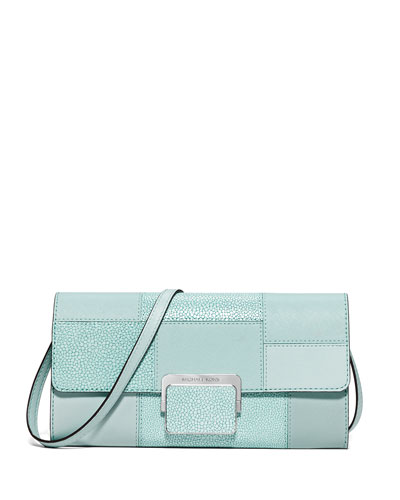 Cynthia Large Patchwork Evening Clutch Bag, Celadon