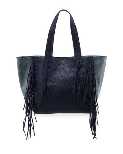Piper Fringe Faux-Leather Tote Bag, Navy