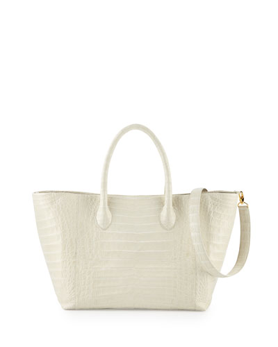 Crocodile Medium Convertible Tote Bag, Ivory