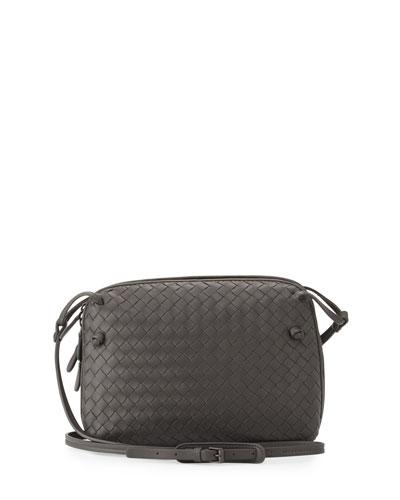 Intrecciato Double-Compartment Bag, New Light Gray