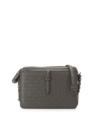 Medium Woven Camera Front Shoulder Bag, New Light Gray