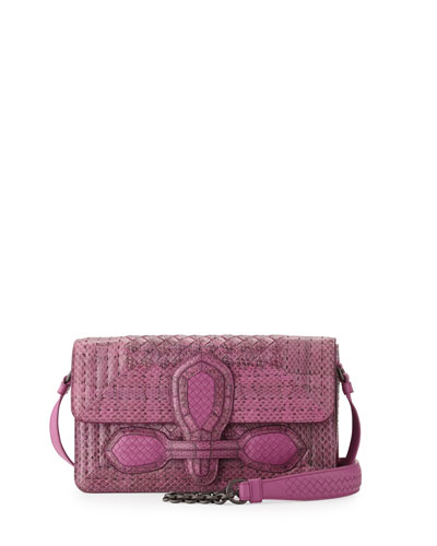 Watersnake Small Flap Shoulder Bag, Peony Pink