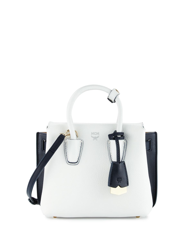 Milla Mini Colorblock Tote Bag, White