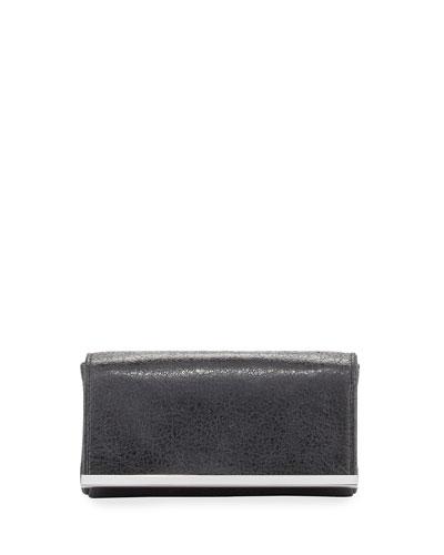 Essex Leather Evening Clutch Bag, Black/Nickel