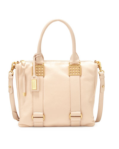 Ally Pebbled-Leather Shoulder Bag, Latte