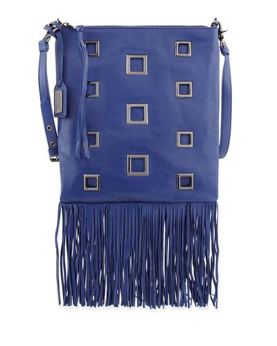 Lisa Leather Crossbody Bag W/Fringe, Ink