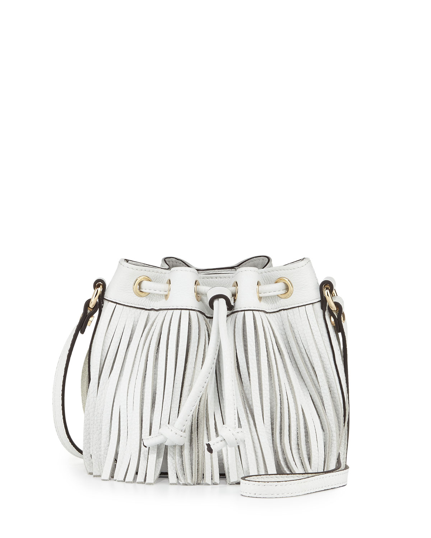 Lexi Micro Fringe Bucket Bag, White