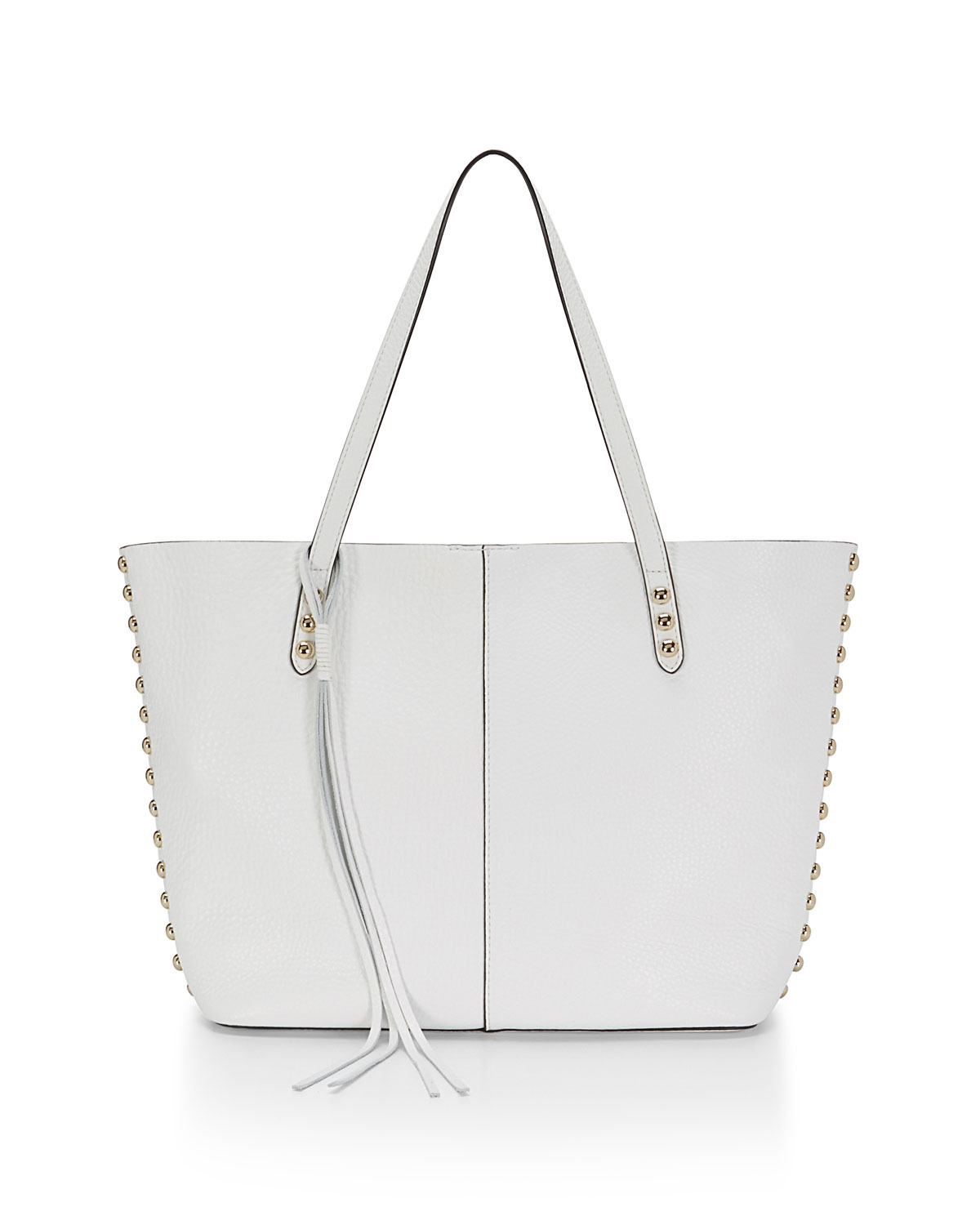 Pebbled Leather Unlined Tote Bag, White