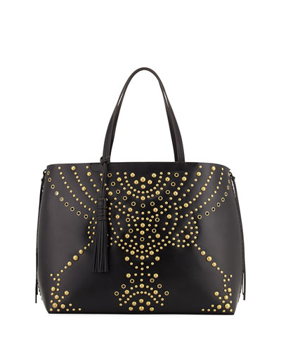 Panama Studded Leather Tote Bag, Black