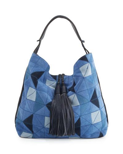 Isobel Patchwork Suede Hobo Bag, Blue/Multi