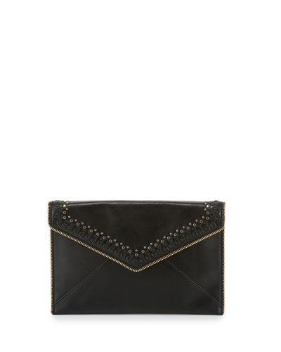 Leo Whipstitch Envelope Clutch Bag, Black