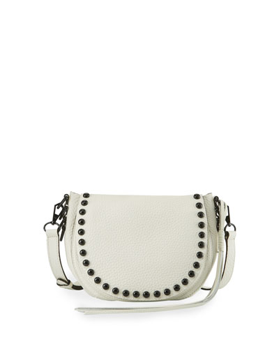 Unlined Studded Saddle Bag, Antique White