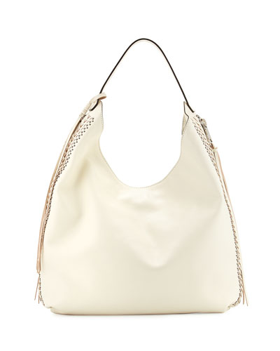 Bryn Leather Hobo Bag, Antique White