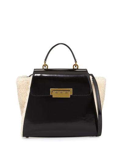 Shearling & Leather Shoulder Bag, Natural