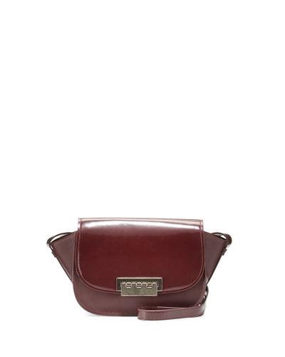 Eartha Accordion Leather Crossbody Bag, Vino